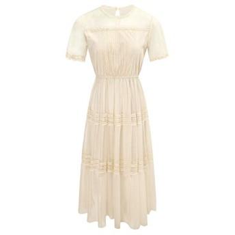 AHWYE セクシーな薄いドレスだった2020年夏の新ブランドの女性のラウンドネックAバックルガーゼスカートA単語 AHWYE (Color : Apricot, Size : S)