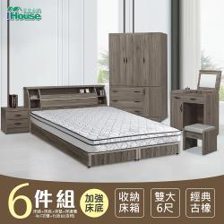 IHouse-群馬 和風收納房間6件組(床頭箱+床墊+六分床底+邊櫃+4x7衣櫃+化妝台)-雙大6尺