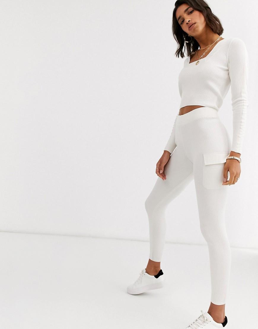 ASOS DESIGN Lounge co-ord knitted legging woven detail-Cream