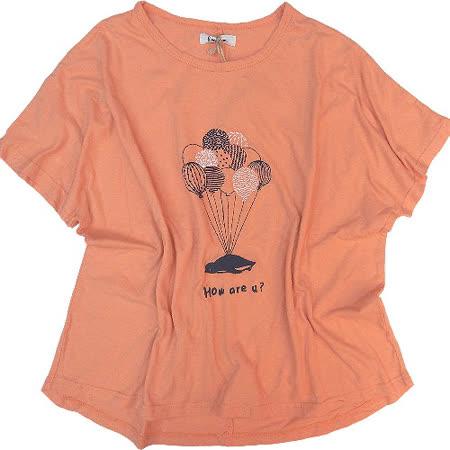 【波克貓哈日網】日系斜口袖T恤◇Emago◇《氣球圖案》亮橘色