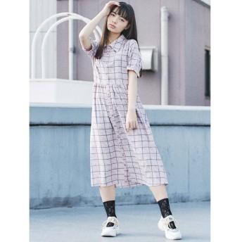 メリージェニー チェック×レオパシャツワンピース レディース ピンク F 【merry jenny】