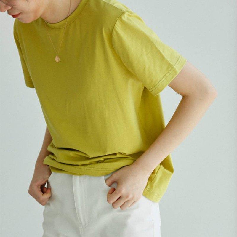 芥末黃色 自賞的詩句 必入 舒適棉氨綸多色基礎款圓領短袖T恤上衣