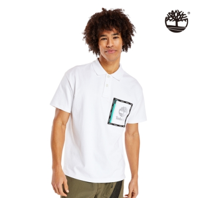 Timberland 男款白色抗菌重磅寬鬆POLO衫|A1ZUE