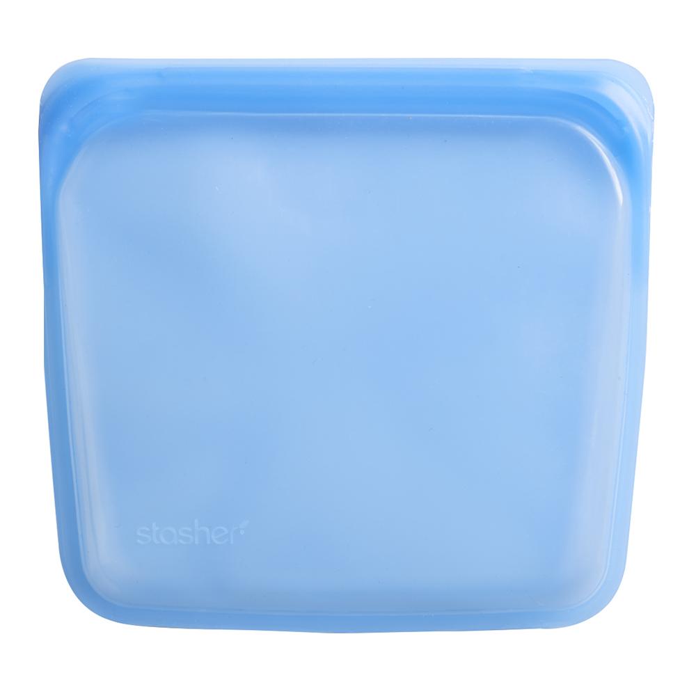 美國 Stasher 白金矽膠密封袋-方形藍寶石