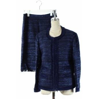 【中古】デュアルヴュー セットアップ 上下 スーツ フォーマル ジャケット スカート ツイード 青 紺 40 レディース