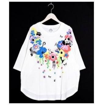 スカラー ScoLar アニマル花柄Tシャツ (オフホワイト)