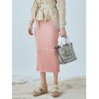 (MERCURYDUO/マーキュリーデュオ)リブメロータイトスカート/レディース ピンク