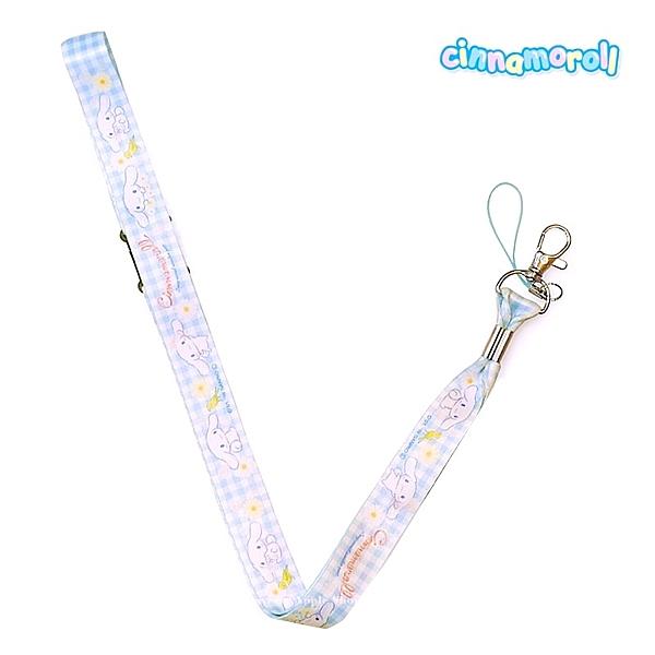 日本限定 三麗鷗 大耳狗 青鳥 格紋 手機吊飾 掛繩頸帶 / 證件掛鉤掛繩