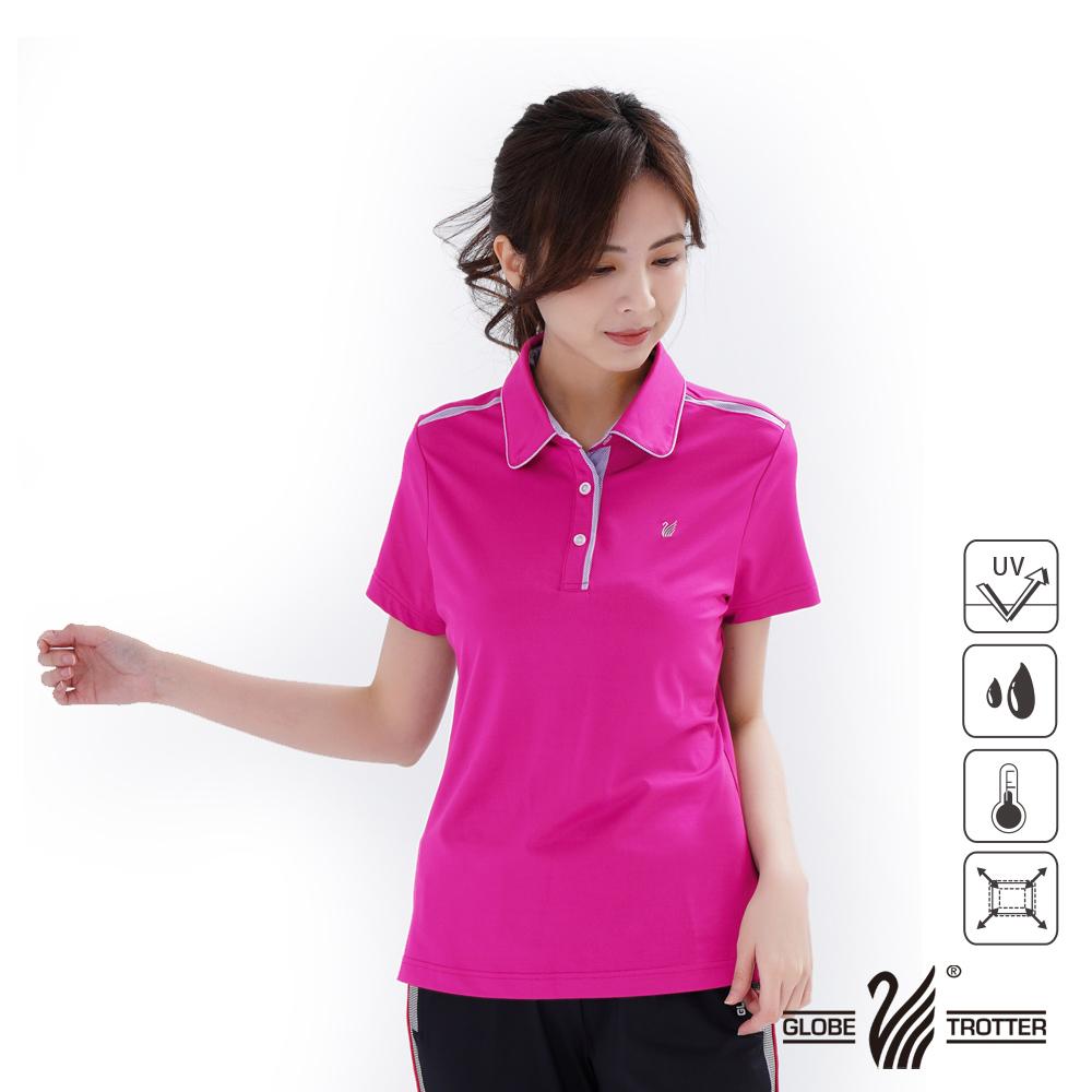【遊遍天下】女款格紋抗UV機能POLO衫GS1014粉紅