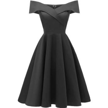 女性長袖ドレス オフショルダードレスサテンのドレス短い段落花嫁介添人パーティーダンスウエディングドレス女性ヴィンテージパーティードレス (Color : Black, Size : L)