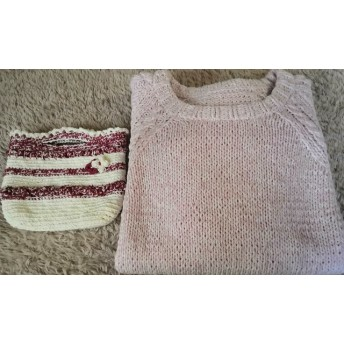 春夏糸 身頃続き模様 袖アラン模様 半袖セーター ピンク杢