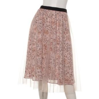 60%OFF Rose Tiara (ローズティアラ) レオパード×チュールフレアスカート ピンク