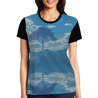 レディース Tシャツ 風景 半袖トップス クルーネック 夏 おしゃれ 快適な 通気性
