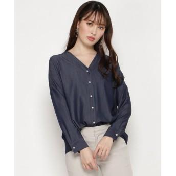 【30%OFF】 スウィングル 抜け衿パールボタンシャツ レディース ブルー M 【Swingle】 【セール開催中】