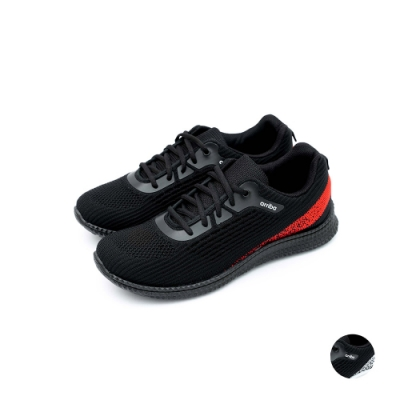 ARRIBA艾樂跑男鞋-針織輕量休閒鞋-黑紅/黑白(FA535)