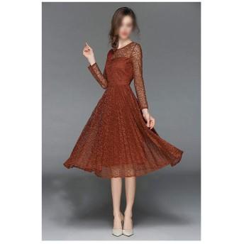 JIANYI JP 女性の初秋のスリム長袖レースプリーツミドル丈ワンピースはパーティーになることができます (Color : Picture color, Size : XL)