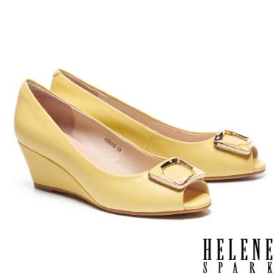 高跟鞋 HELENE SPARK 時尚典雅滴油金屬釦魚口楔型高跟鞋-黃