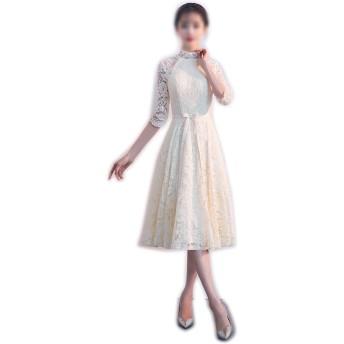 Jtydj 女性の高い襟長袖レースのイブニングドレス (色 : シャンパン, サイズ : XL)