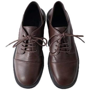 [Yj6x] 女の子 学生革靴 厚底靴 皮靴 通学 通勤 歩きやすい 24.0cm 滑り止め カジュアル レースアップシューズ 走れる ローヒール オックスフォード 女性 ローファー 美脚 ブラウン ファッション 合わせやすく 通学