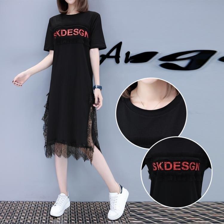 「樂天優選」中大尺碼蕾絲洋裝 2020流行夏天裙子新款韓版寬鬆小香風黑色蕾絲中長款連身裙女過膝