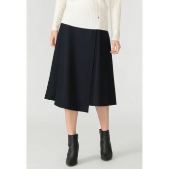 MACKINTOSH LONDON ウール圧縮スムーススカート ロング・マキシ丈スカート,ネイビー