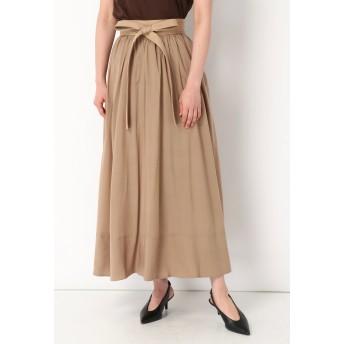 SALT+JAPAN リボンディテールギャザースカート ロング・マキシ丈スカート,ベージュ
