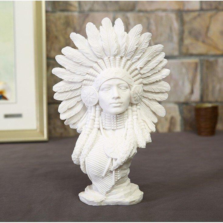 創意白砂岩印第安人物擺飾 砂岩擺件創意樹脂工藝品桌面裝飾