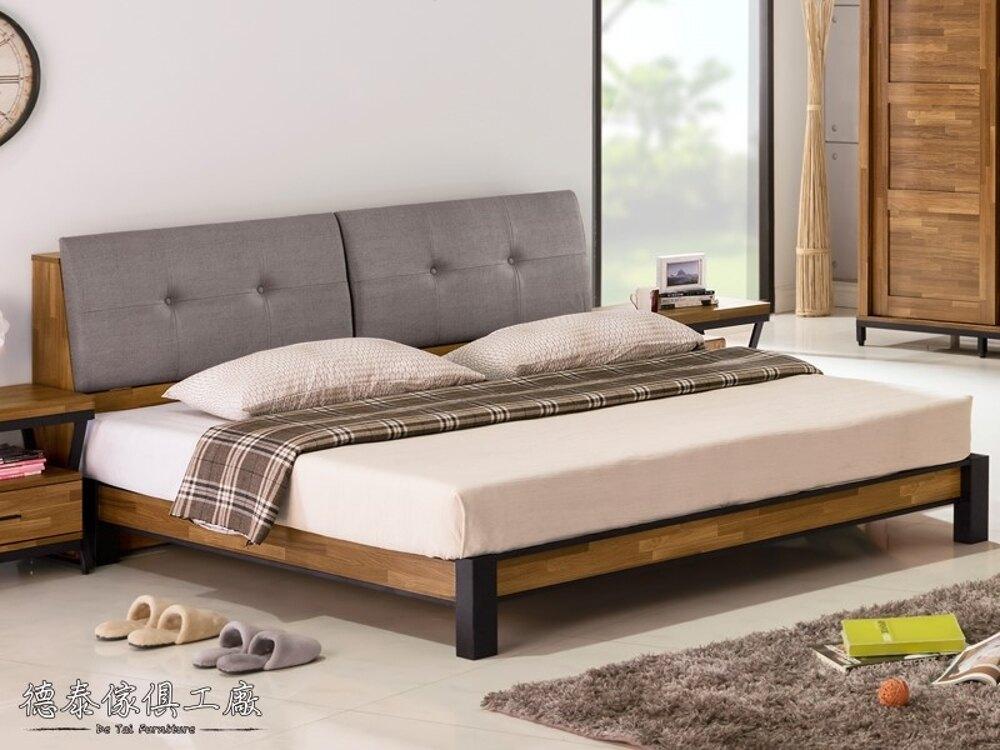 【德泰傢俱工廠】工業風木心板6尺雙人床(床頭箱) A005-252+256