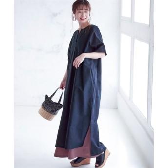 【大きいサイズ】 サイドスリットスキッパーロングワンピース(薄手素材) ワンピース, plus size dress