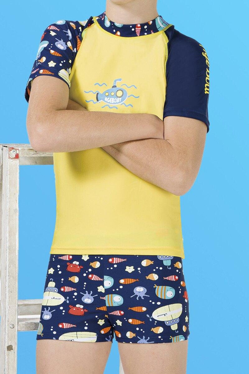 【M9222】梅林泳裝降價↘特賣~男童黃底搭海底生物短袖二件式泳衣 贈泳帽
