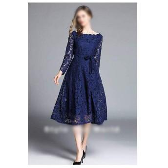JIANYI JP 春の美しい長袖スリムレースのドレス女性のロングレースのスカート (Color : Navy, Size : S)