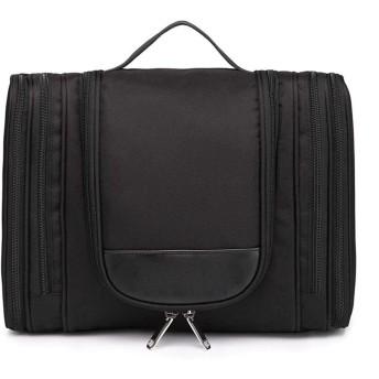 旅行化粧品袋PVC化粧品袋屋外大容量化粧品収納袋-black-L