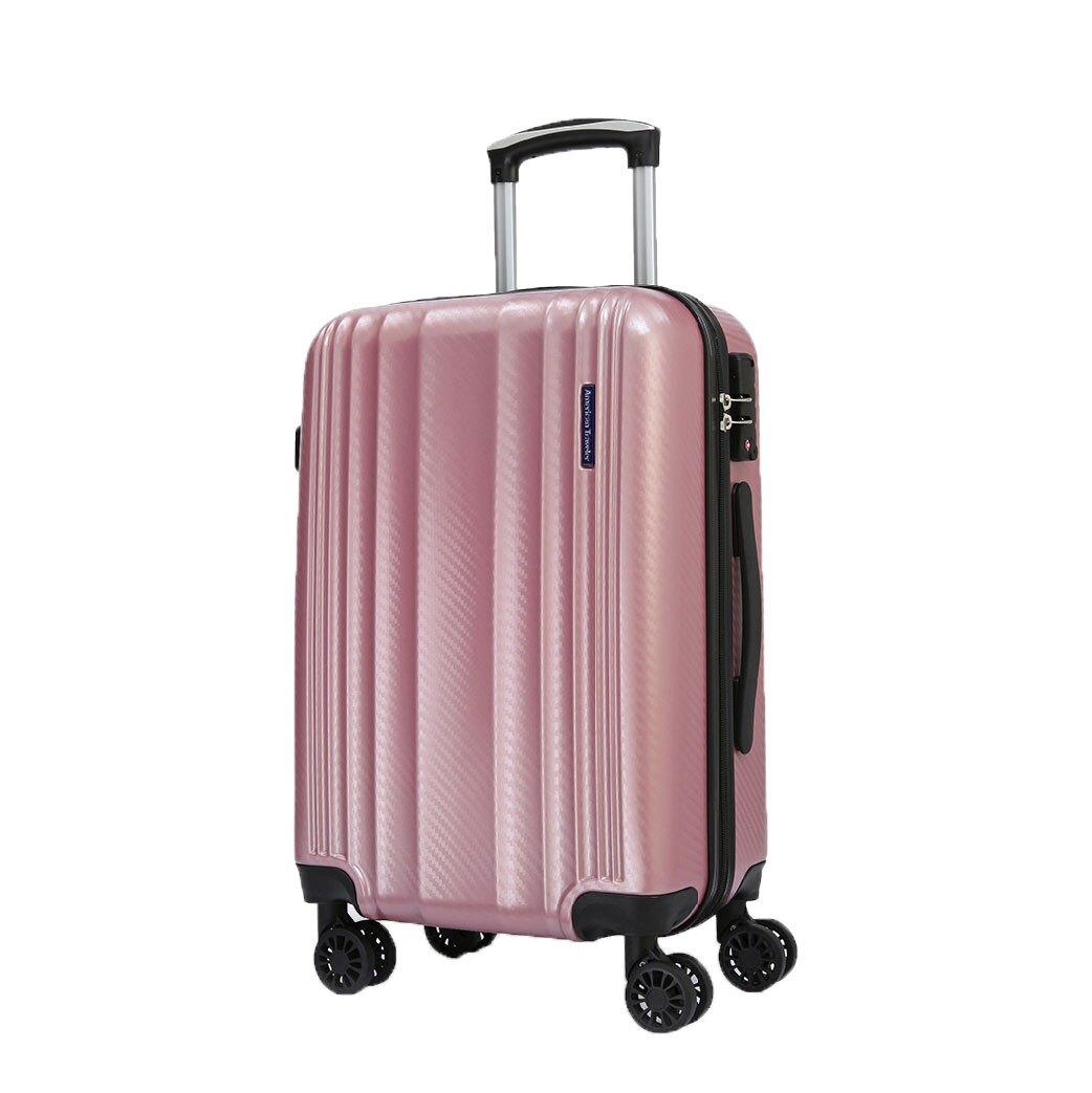 【哇哇蛙】Munich慕尼黑系列-碳纖紋超輕量抗刮行李箱 20吋(亮粉金)旅行箱 多色可選