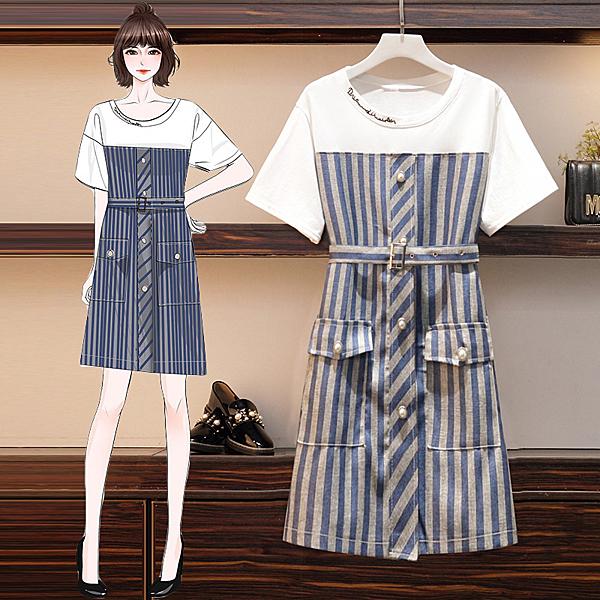 超殺29折 韓國風大碼豎條紋拼接假兩件顯瘦短袖洋裝