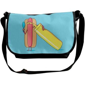 メッセンジャーバッグ ショルダーバッグ 面白いホットドッグ 斜めがけ ワンショルダー バック カバン キャンバス 大容量 超軽量 学校 旅行 メンズ レディース 正規品