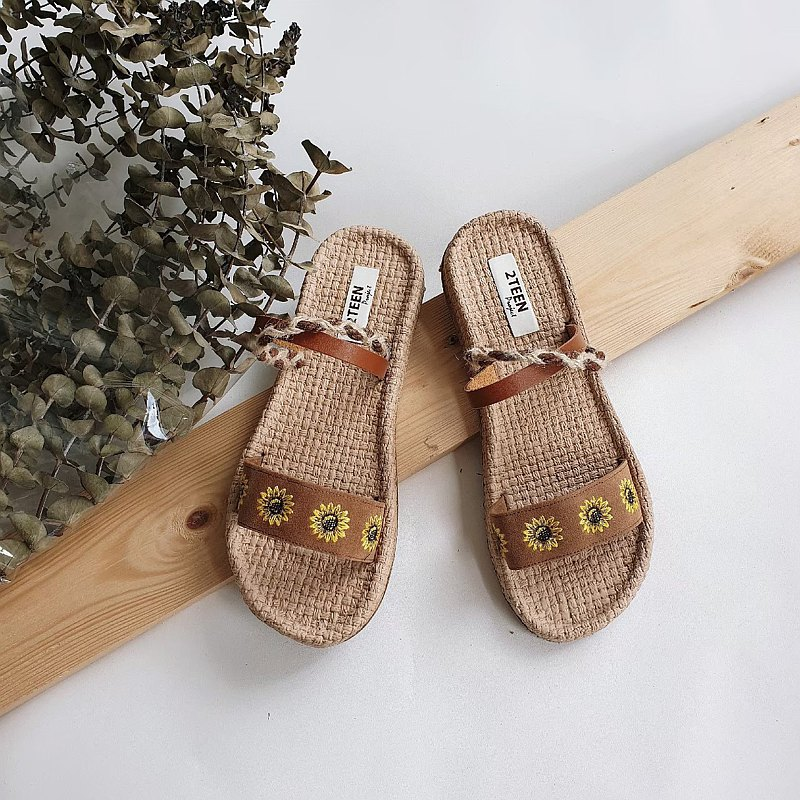 刺繡向日葵涼鞋