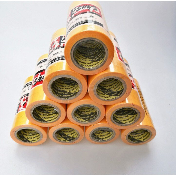 噴漆鍍膜遮蔽和紙膠帶 黃色和紙高粘分色遮蔽和紙耐高溫膠帶紙噴漆汽車美容遮蔽膠帶