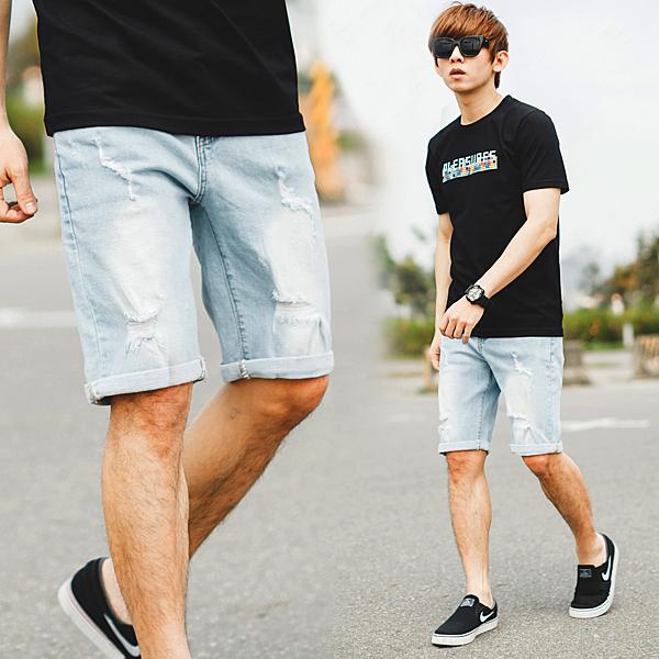 短褲 韓國製淺藍刷白小抓破牛仔短褲【NB0755J】