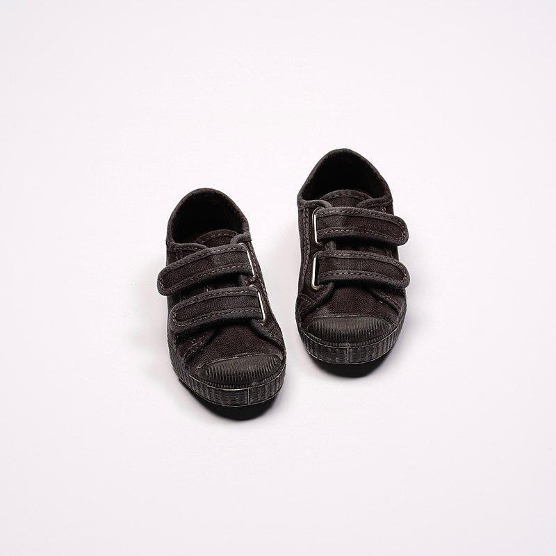 西班牙帆布鞋 CIENTA U78777 01 黑色 黑底 洗舊布料 童鞋 魔鬼粘