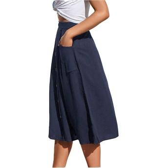 レディーススカートドレス 快適な女性の夏のスカートのボタンの装飾ハイウエストのカジュアルAラインミディスカート カジュアルパーティー用 (色 : Blue, Size : S)