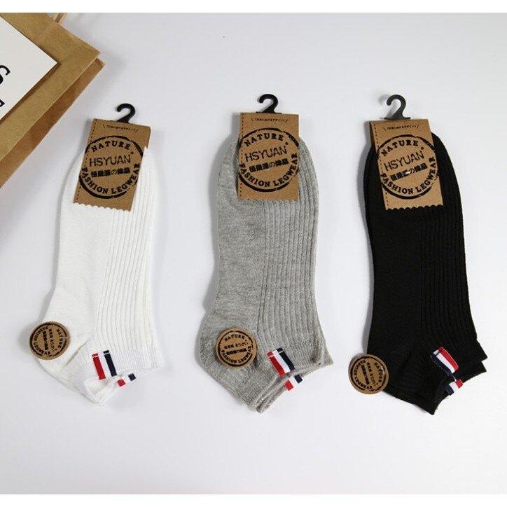 韓版經典藍白紅標隱形短襪 日系潮流風船襪 情侶襪男女皆可穿中性襪 非運動長筒襪(買10送1)