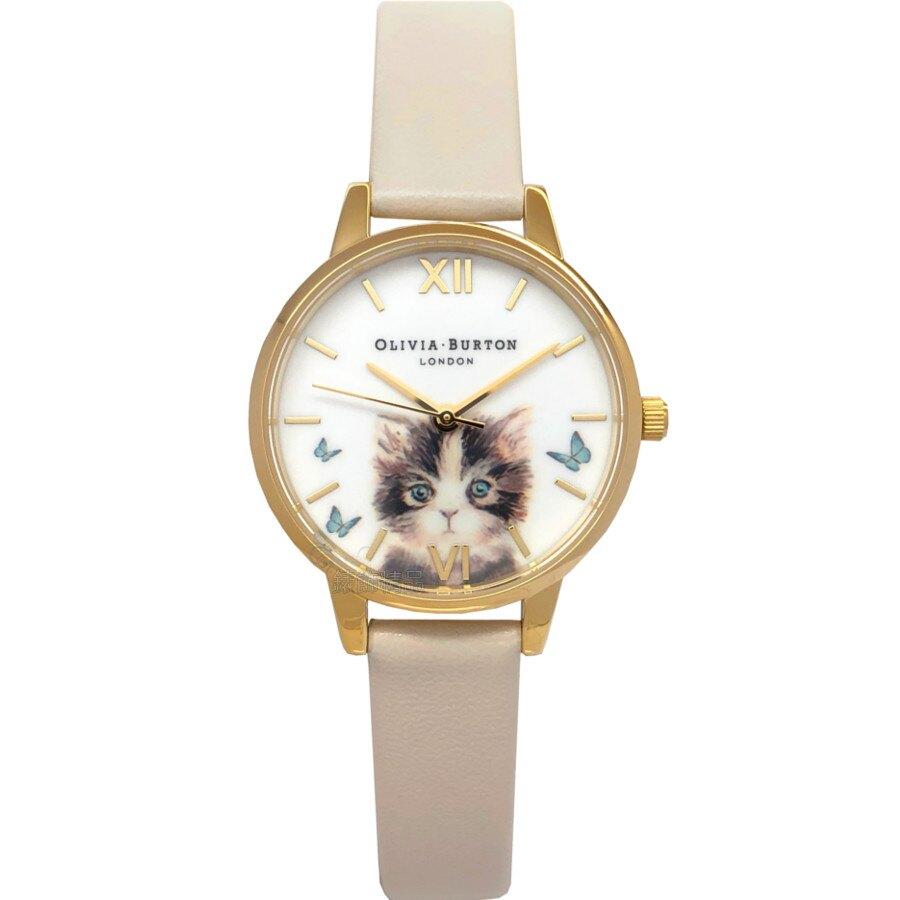 OLIVIA BURTON 手錶 OB16WL75 療癒貓咪 飛舞蝴蝶 米色皮帶30mm 女錶【錶飾精品】
