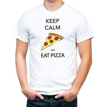 [ドラゴン]メンズ おかしいティー Keep Calm and Eat Pizza ジェネリック Tシャツ クラシック半袖Tシャツ