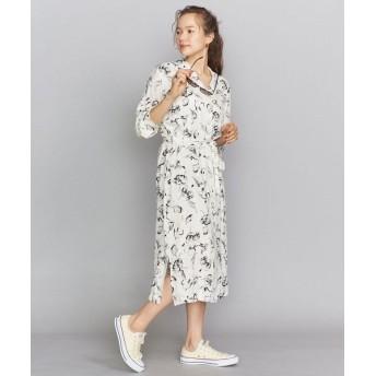 BEAUTY & YOUTH UNITED ARROWS/ビューティ&ユース ユナイテッドアローズ BY ハンドフラワープリントオープンカラーシャツワンピース OFF WHITE M