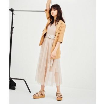 【レディアゼル/REDYAZEL】 ベルト付チュールデザインスカート