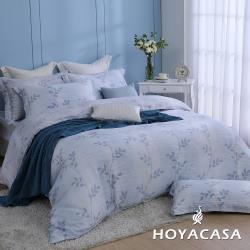 HOYACASA  特大抗菌60支天絲兩用被床包四件式組-柳葉紛飛