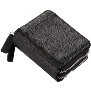 レディース カードケース DOKA多くの保護バッグ財布トラベルウォレット手首のジッパーの女性の財布レザー大容量ストレージ ウォレット カード小銭入れ かわいい (色 : Black, Size : 4cm7.5cm10.5cm)