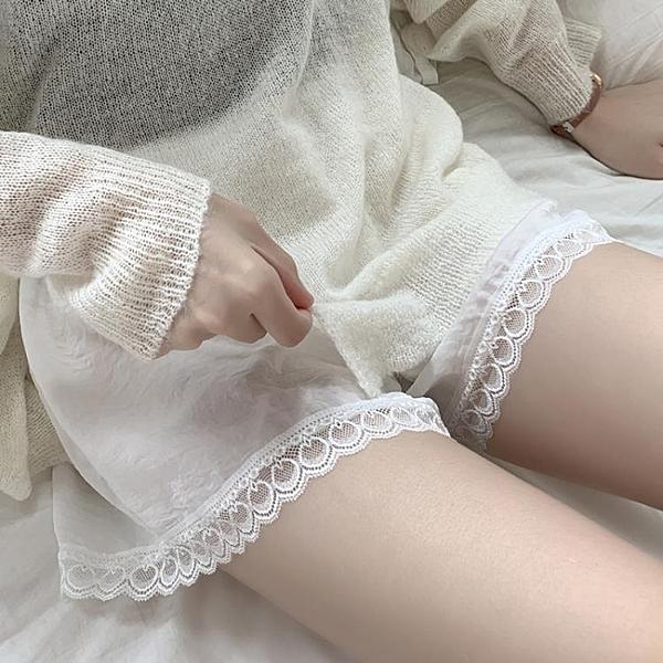 安全褲女防走光夏薄款大碼緞面可外穿短褲蕾絲花邊韓版寬鬆打底褲 快速出貨