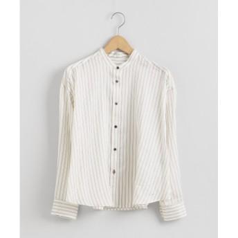 【ニーム/NIMES】 サテンビンテージストライプバンドカラーシャツ