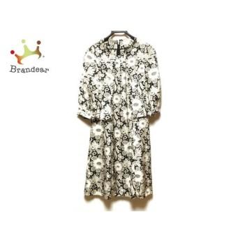 ユマコシノ YUMAKOSHINO ワンピース サイズ38 M レディース 美品 黒×白 花柄 新着 20200401